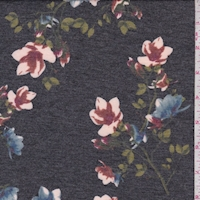 Heather Black Floral Sprig Double Brushed French Terry Knit
