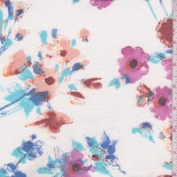 White Floral Double Brushed French Terry Knit