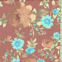 Copper Red Floral Double Brushed French Terry Knit