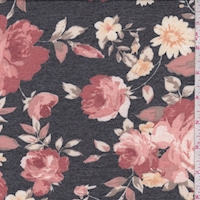Black/Dark Blush Rose Double Brushed French Terry Knit