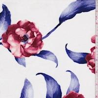 White/Garnet/Violet Rose Rayon Challis