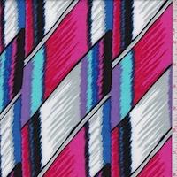 Hot Pink/Grey Flamestitch Geo Rayon Challis
