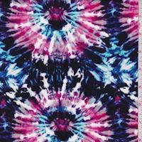 Purple/Berry/Blue Tie Dye Burst Rayon Challis