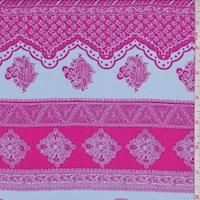 Pale Periwinkle/Raspberry Paisley Stripe Rayon Challis