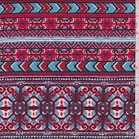 Fire Red/Sky Blue Deco Stripe Rayon Challis