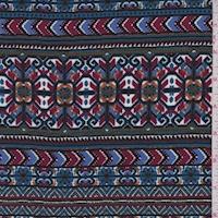 Mulberry/Periwinkle Blue Deco Stripe Rayon Challis