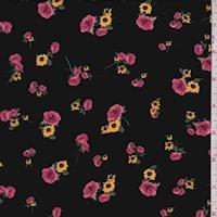 Black Rose/Sunflower Rayon Challis
