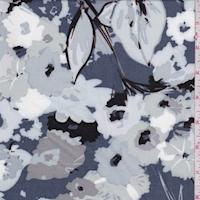 Pewter Blue/Mist Mottled Floral Rayon Challis