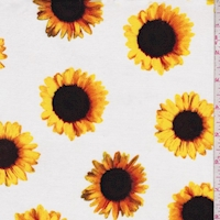 White Sunflower Rayon Challis