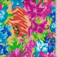 Orange/Fuchsia/Aqua Tropical Floral Rayon Challis