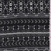 Black/Stone Deco Stripe Rayon Challis