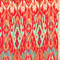 Red/Tangerine Flamestitch Rayon Challis