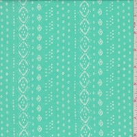 Aqua Green/White Diamond Stripe Rayon Challis