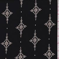 Black/Beige Scroll Kite Rayon Challis