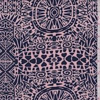 Rose/Navy Mosaic Aztec Rayon Challis