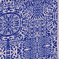 Peach Beige/Electric Blue Mosaic Aztec Rayon Challis