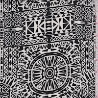 Bone/Black Mosaic Aztec Rayon Challis