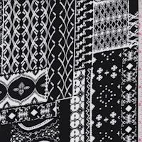 Black/White Moroccan Block Rayon Challis