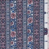 White/Blush/Sapphire Floral Stripe Rayon Challis