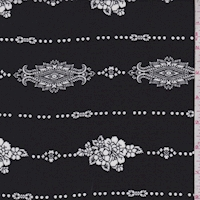 Black/White Floral Stripe Rayon Challis