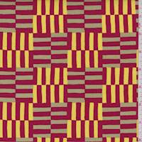"""*3 1/4 YD PC--Red/Gold """"Zing"""" Print Cotton"""