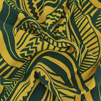 *5 1/2 YD PC--Pine Green/Yellow Abstract Leaf Print Tissue Faille