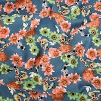 *3 YD PC--Deep Teal/Orange/Multi Floral Print Georgette