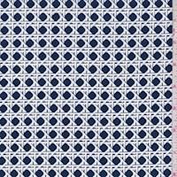 "*3 YD PC--Nite Blue ""Basket Squares"" Print Cotton"