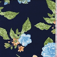 Dark Blue Multi Tropical Floral Double Brushed Jersey Knit
