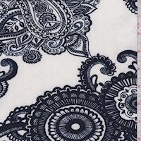 Ivory/Navy Paisley Medallion Double Brushed Jersey Knit