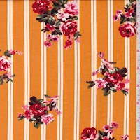 Orange Gold Double Stripe Floral Double Brushed Jersey Knit