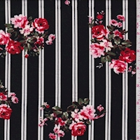 Black Double Stripe Floral Double Brushed Jersey Knit