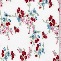 White/Ruby/Pink Floral Cluster Double Brushed Jersey Knit