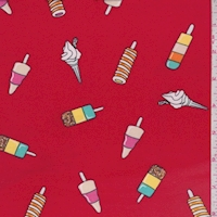 Red Ice Cream Treat Double Brushed Jersey Knit