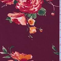 *1 5/8 YD PC--Cranberry/Orange Floral Cluster Jersey Knit