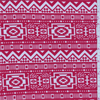 *1 3/4 YD PC--ITY Sienna Red Southwest Print Jersey Knit