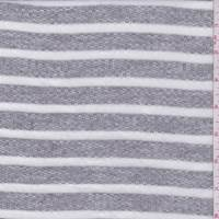 *3 1/8 YD PC--Heather Grey/White Stripe French Terry Knit