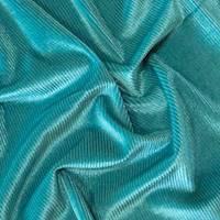 *1 1/4 YD PC--Teal Semi-Opaque Pile Stripe Velvet Knit