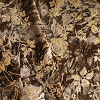 *2 7/8 YD PC--Coffee Brown/Gold Rose Foil Printed Crushed Velvet Knit