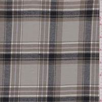 *1 3/8 YD PC--Pale Taupe Plaid Flannel