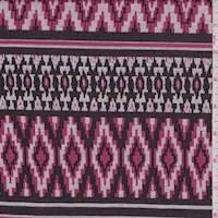 *4 YD PC--Black/Rose/Grey Aztec Double Knit