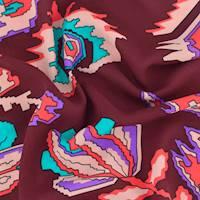 *2 5/8 YD PC--Burgundy/Teal/Multi Pixel Floral Print Georgette