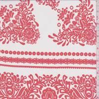 *4 1/4 YD PC--Fire/Ivory Wallpaper Stripe Silk Chiffon