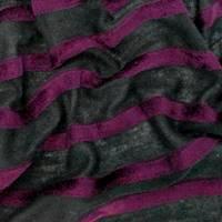 *1 YD PC--Black/Plum Purple Velvet Stripe Tissue Jersey Knit
