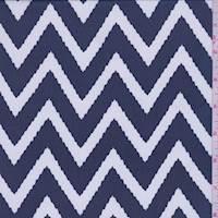 *1 3/8 YD PC--Navy Blue/White Chevron Print Chiffon