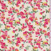 *3 1/8 YD PC--Buff Yellow Floral Cluster Rayon Challis