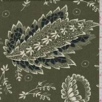 *1 3/8 YD PC--Olive Stylized Floral Crepe Georgette