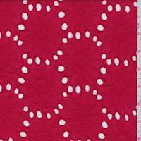 *2 YD PC--Pale Red Embroidered Floral Eyelet