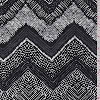 *1 YD PC--Pewter/Black/White Deco Chevron Rayon Challis