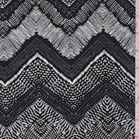*1 5/8 YD PC--Pewter/Black/White Deco Chevron Rayon Challis